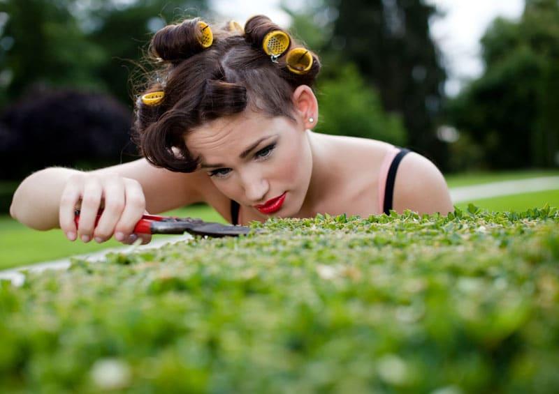 woman, grass