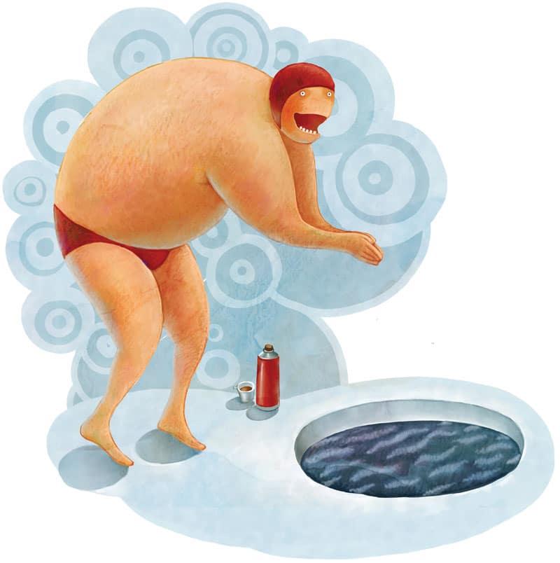 man, swimming, winter