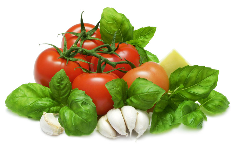 tomato, garlic, basil