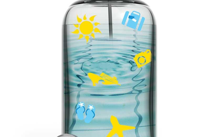 καλοκαιρινό μπουκάλι με νερό