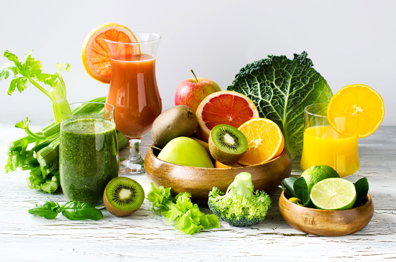 fresh fruits, vegetables, juice