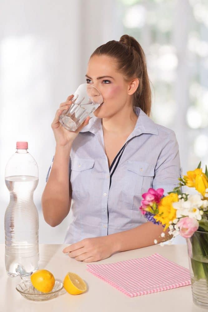 woman, water, lemon