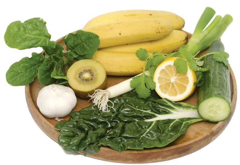 fruits, banana, lemon, kiwi, garlic, veggies