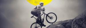man, mountain bike