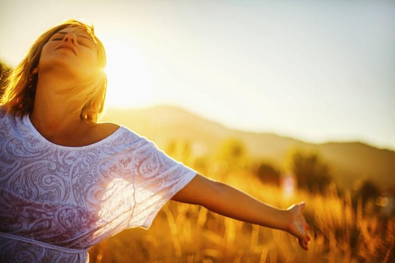 woman, sun