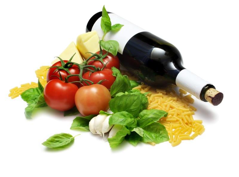 winebottle, pasta, tomato, basil
