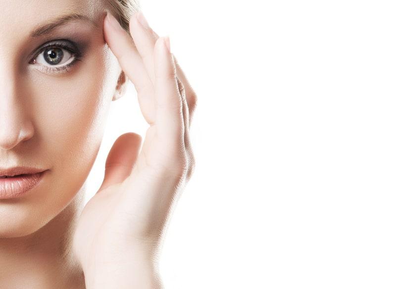 woman, half-face, eyes, under eye area