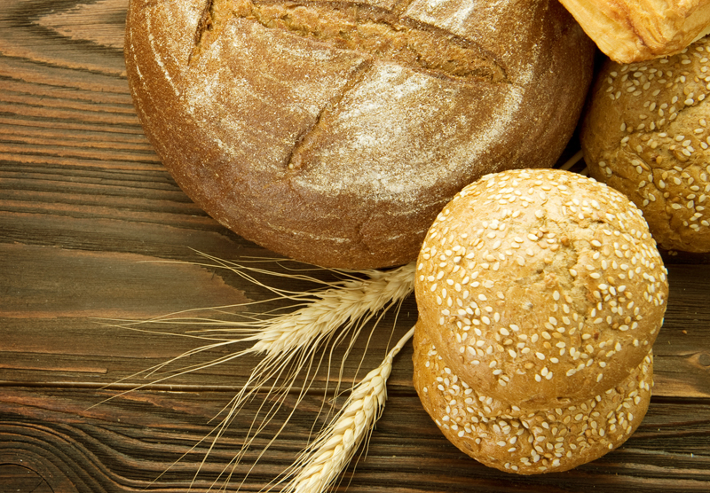 bread, wheat, wooden table