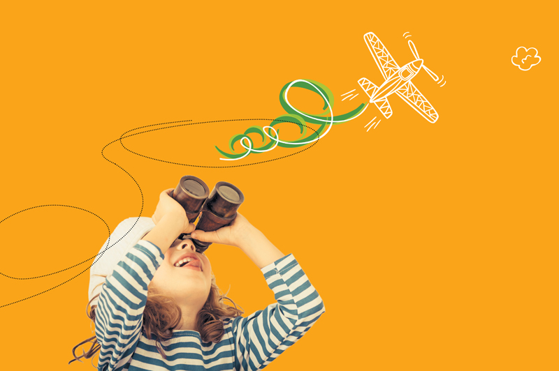 child, airplane, playing, binoculars