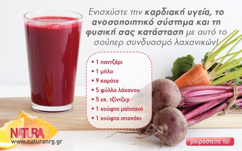 Ενισχύστε την καρδιακή υγεία, το ανοσοποιητικό σύστημα και τη φυσική σας κατάσταση με αυτό το σούπερ χυμό λαχανικών!