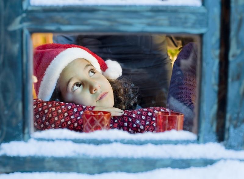 girl, christmas, window