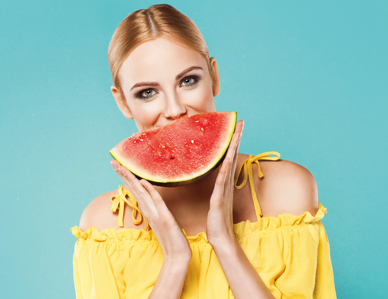 woman-summer-watermellon-happy